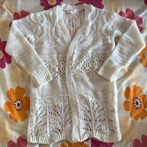 White (cream) long knitted cardigan; unique